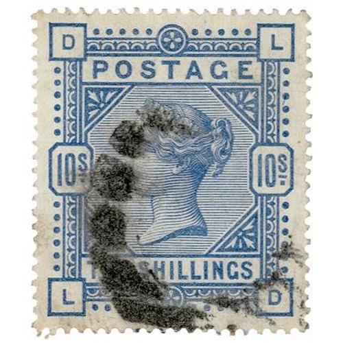 21 - GB - 1883/4 QV 10/- pale ultramarine, SG183a white paper, large anchor wmk. Part heavy cancel. (D-L)...