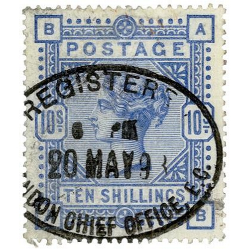22 - GB - 1883/4 QV 10/- ultramarine, SG183, white paper, large anchor wmk. Cancelled with Registered ova...