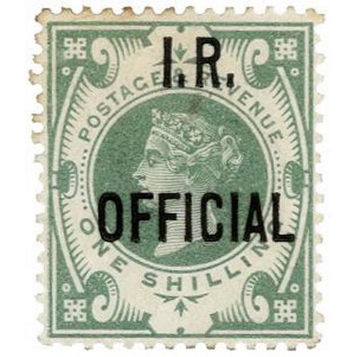25 - GB - 1889 QV Inland Revenue Official 1/- dull green, SG 015. LMM, original gum, faint hint of foxing...