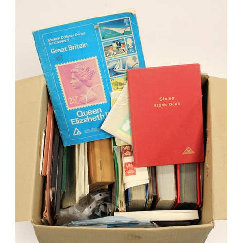 36 - GB - box housing 3x large stockbooks, mainly QE2 commemoratives used. Display book with early to mid...