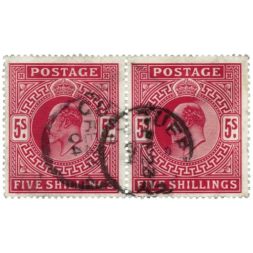 43 - GB - EDVII 1902 5s carmine horizontal pair, SG263, large anchor wmk, double thimble cancel, Guernsey...