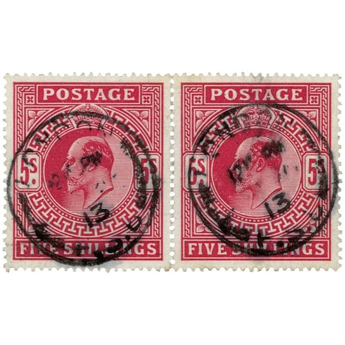 44 - GB - EDVII 5s carmine horizontal pair, SG318, neat London cds to both stamps, good colour and perfs,...