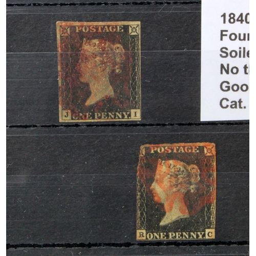 6 - GB - 1840 Penny Black Plate 2 (J-I) four margins, soiled appearance, no thins or creases. Good used,...