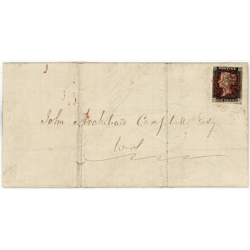 7 - GB - 1840 Penny Black Plate 2 (S-F) on entire, Var.b. (shifted transfer - upper) three margins, just...