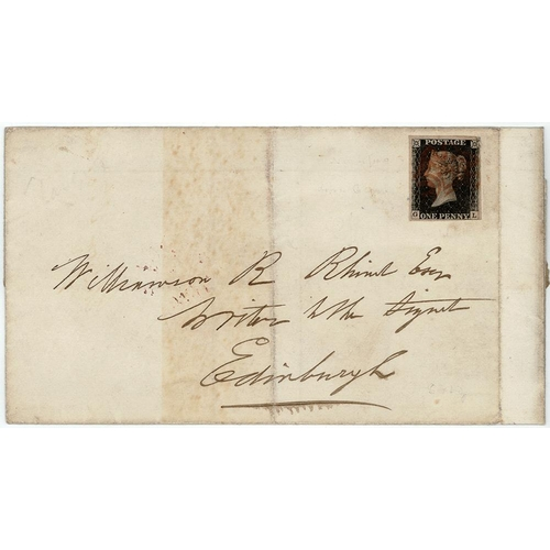 9 - GB - 1840 Penny Black Plate 5 (G-L) on wrapper, three margins, not tied, but appears to belong. Clea...