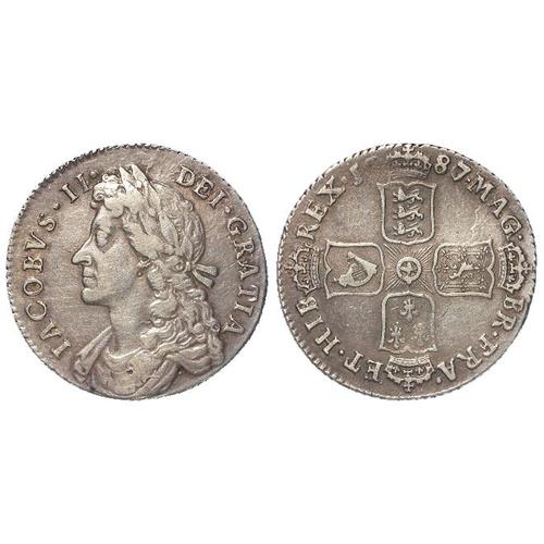 231 - Shilling 1687/6, Spink 3410, VF