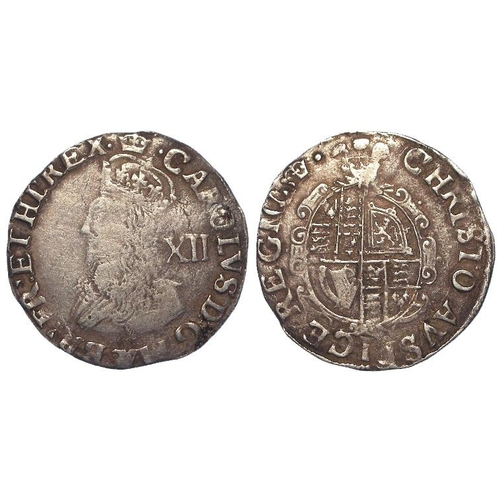 590 - Charles I silver Shilling mm. Crown, Tower Mint under the King, plume over shield, S.2793, 5.74g, Fi...