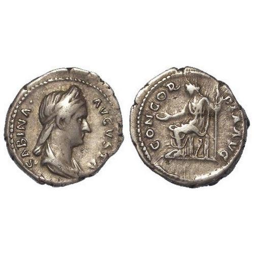 711 - Roman Imperial, Sabina AR Denarius, Concordia seated left type, 3.50g, VF