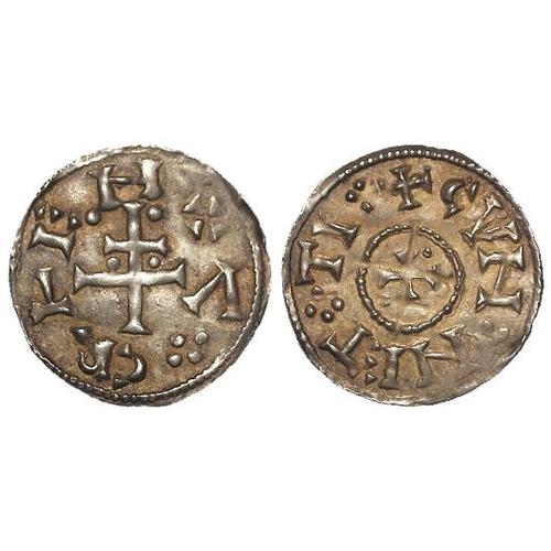 730 - Viking Kingdom of York, Cnut of Northumbria silver Penny c.900-905 AD, CVNNETTI patriarchal cross ty...