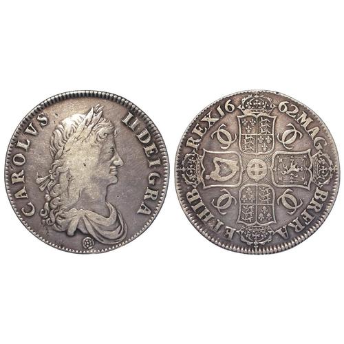75 - Crown 1662, rose below bust, edge undated, S.3350, bold GF