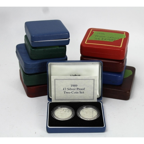 1088 - Boxed Silver proof issues (10). Mainly GB, includes Two Pounds two-coin sets (2) both 1989 Standard ...