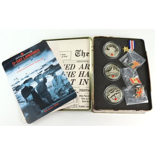 1103 - Channel Islands, Jersey, Guernsey & Alderney Silver Proofs (3): 60th Anniversary D-Day Landings Comm...