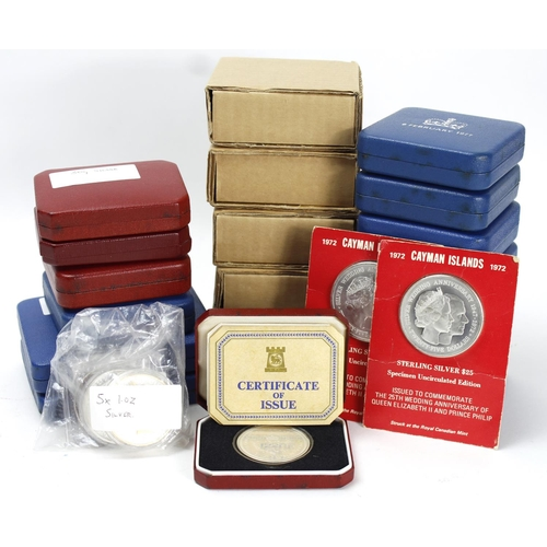 1118 - GB & Commonwealth Silver Proofs (26) approx. 1oz to 3oz sizes, most with cases.