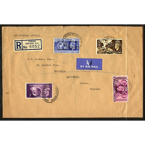 1 - Great Britain Morocco Agencies 1948 (12 AU) registered airmail cover to Southport England KGVI Olymp...