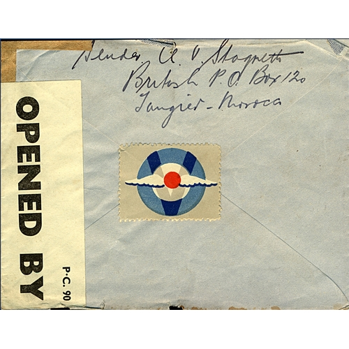 11 - Great Britain Tangier International Zone 1942 registered airmail and censored cover from British PO ...