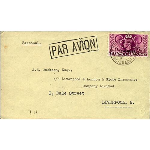 13 - Great Britain Tangier International Zone 1948 airmail cover to Liverpool England 6d KGVI Olympic iss...