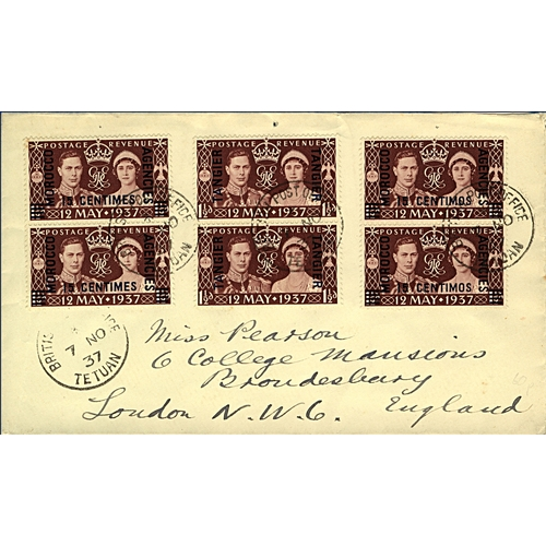 16 - Great Britain Morocco Agencies 1937 (7 NO) cover to London England mixed franking 15c on 1½d maroon ...