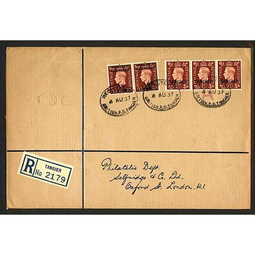 2 - Great Britain Morocco Agencies 1937 (4 AU) registered cover to Philatelic Dept. Selfridges & Co Ltd ...