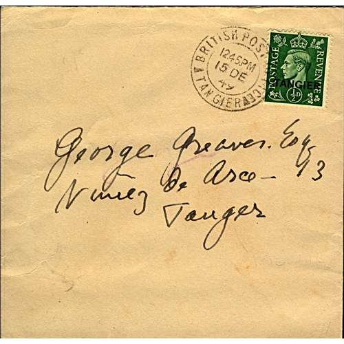 20 - Great Britain Tangier International Zone 1949 (15 DE) cover local use to Tangier charged ½d rate wit...