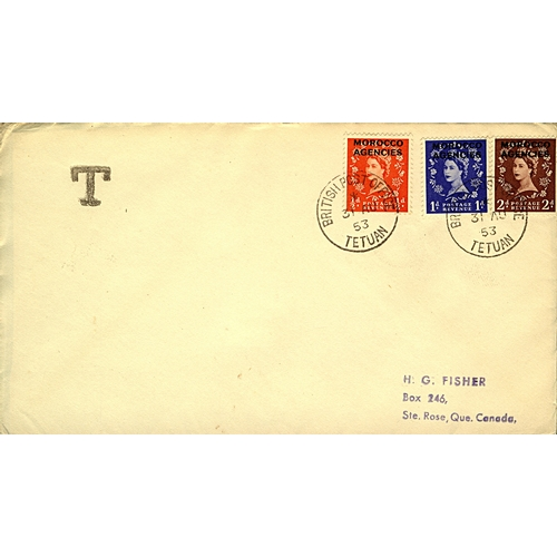 22 - Great Britain Morocco Agencies 1953 (31 AU) British currency First Day Cover to Canada for ½d orange...