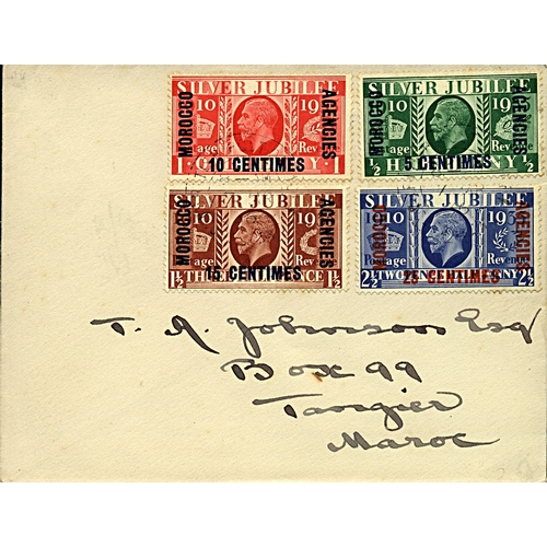 23 - Great Britain Morocco Agencies 1936 (7 MR} cover local use to Tangiers with KGVI Silver Jubilee set ...