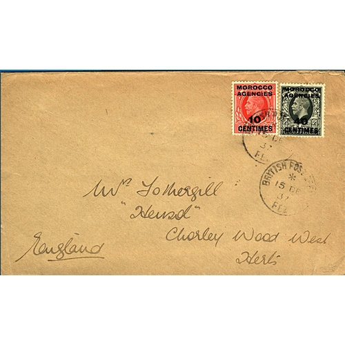 24 - Great Britain Morocco Agencies 1937 (15 DE) cover to England charged 50c with 10c on 1d red and 40c ...