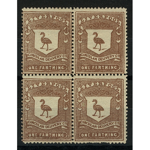 26 - Great Britain Private Carrier Liverpool Circular Delivery Co. ¼d brown perf block of 4 Mint (no gum)...