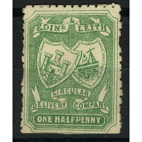 28 - Great Britain Private Carrier Edinburgh & Leith Circular Delivery Co. ½d green irregular Perf Mint...