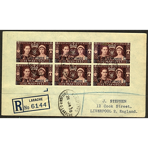 3 - Great Britain Morocco Agencies 1938 (21 JA) registered cover to Liverpool England from Larache with ...