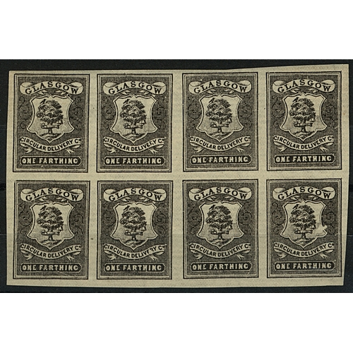 33 - Great Britain Glasgow Circular Delivery Co. ¼d black imperf block of 8 showing plate positions 46/9 ...