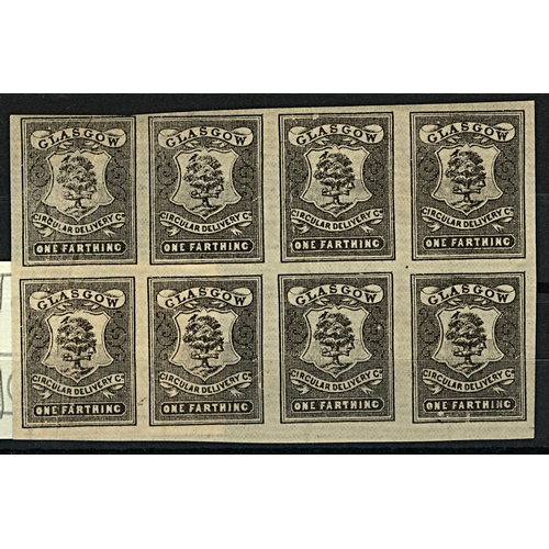 34 - Great Britain Glasgow Circular Delivery Co. ¼d black imperf block of 8 showing plate positions 52/5 ...