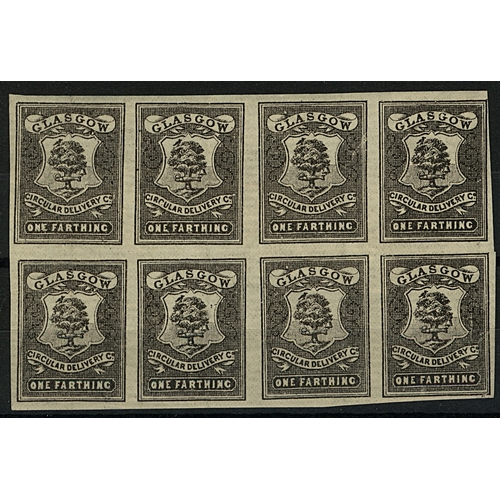 35 - Great Britain Glasgow Circular Delivery Co. ¼d black imperf block of 8 showing plate positions 24/7 ...