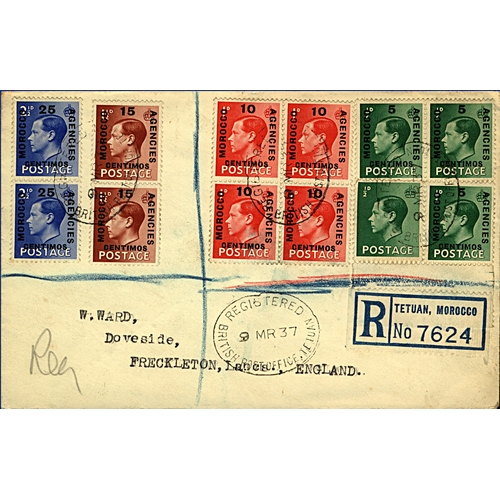 4 - Great Britain Morocco Agencies 1937 (9 MR) registered cover to Freckleton England from Tetuan mixed ...