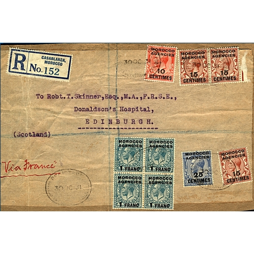 8 - Great Britain Morocco Agencies 1931 (30 OC) registered parcel front to Edinburgh from Casablanca mix...