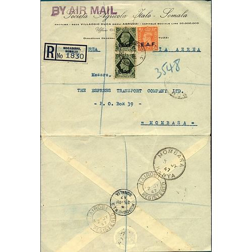 9 - Great Britain Somalia Occupation 1947 registered airmail cover Mogadishu Somalia to Mombasa 20d rate...