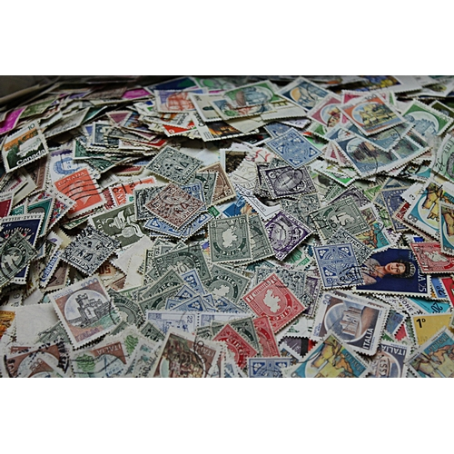 53 - Worldwide box of unsorted loose off paper stamps 1.5kg of good quality mixture early to modern many ...