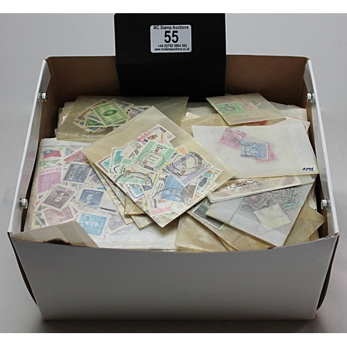 55 - Worldwide box containing 100's of quality glassine envelopes containing off-paper stamps sorted by c...