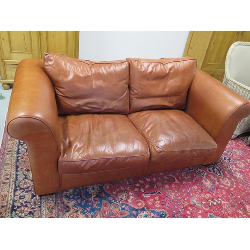 A pair of Laura Ashley Burgess (old small) leather 2-seater ...