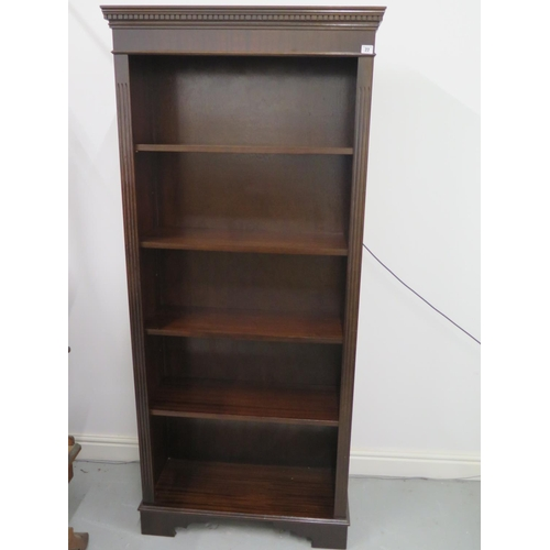 22 - A reproduction 20th Century Victorian style open bookcase with adjustable shelves - 181cm H x 80cm x...
