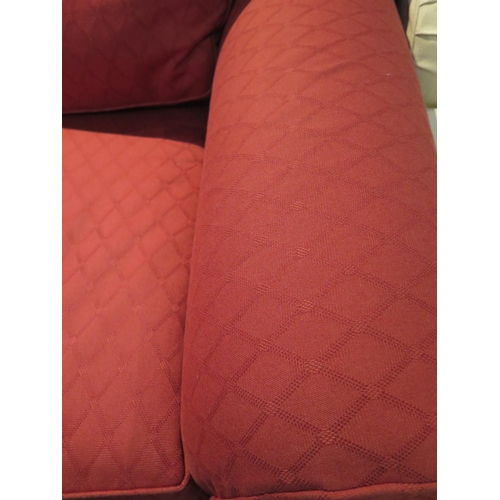 14a - A Multiyork three piece suite in red material, large two seater sofa, 203cm wide, small two seater s...