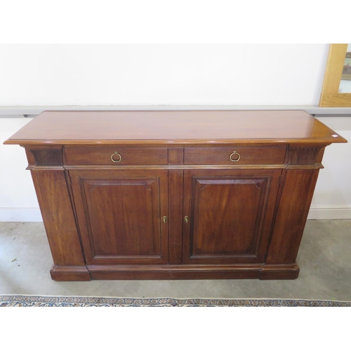 4 - A good quality modern mahogany sideboard by Henredon with two fitted cutlery drawers, 190cm W x 110c...