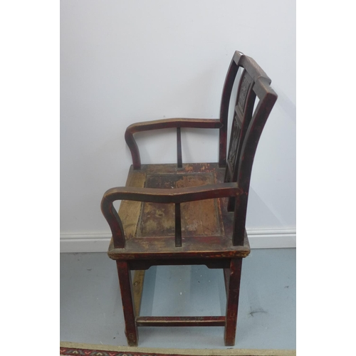 15 - A red lacquered Chinese armchair - 100cm H x 57cm x 45cm...