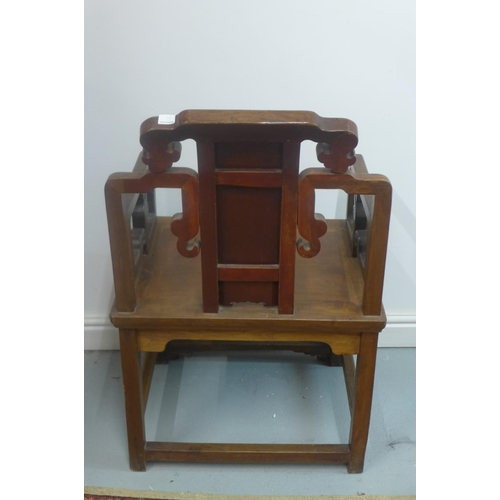 16 - A carved hardwood Chinese open armchair with solid seat, 96cm H x 60cm x 46cm...