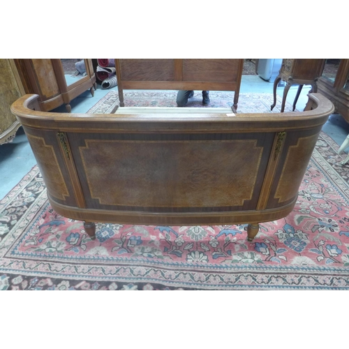 48 - A walnut and ormulu double bed with slatted base - 153cm wide, headboard 150cm H - base needs fixing...