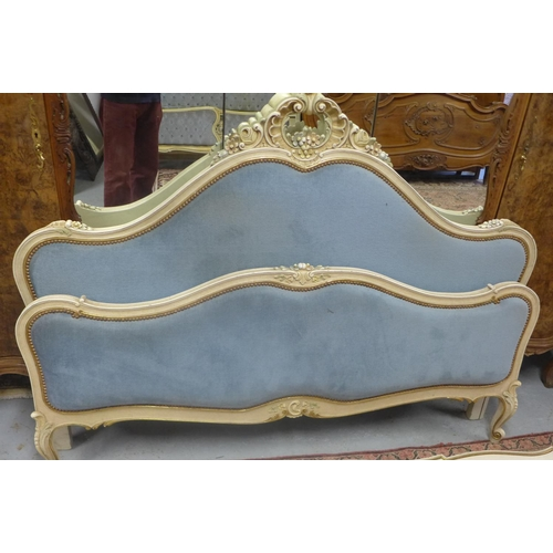 51 - An upholstered French shabby chic bed frame, 170cm W - headboard 125cm H...
