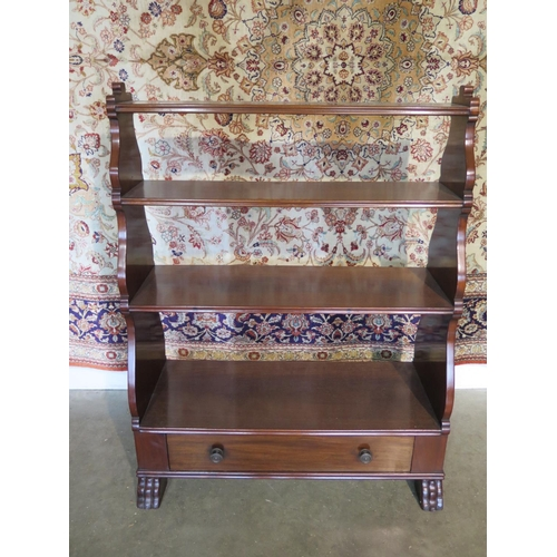 58 - A mahogany double sided open bookcase with a base drawer, in good condition - 107cm H x 82cm W...