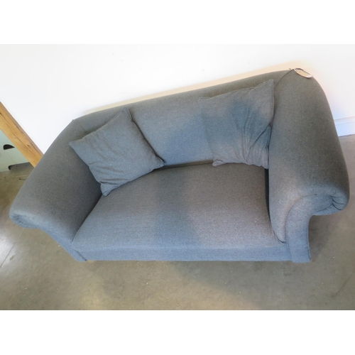 19 - A bespoke made two seater sofa in grey, 70cm H x 188cm x 103cm - with two scatter cushions - cost ne...