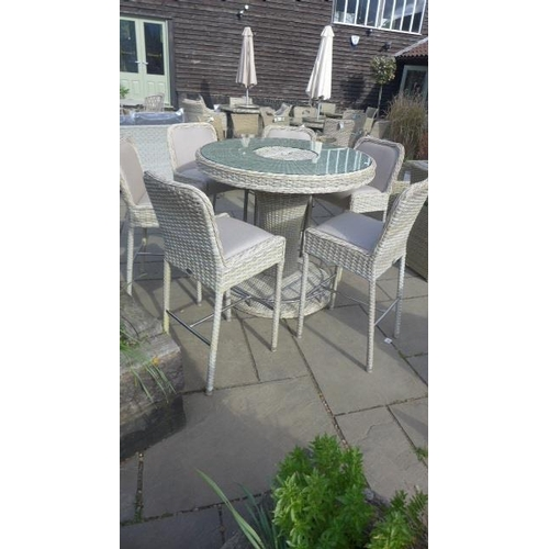 1 - A Bramblecrest 120cm round table bar set with six chairs, ex-display...