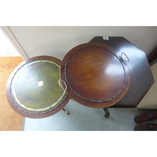 33 - Two tripod side tables, one with a lifting tray top...