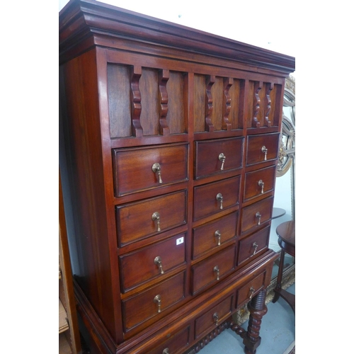 45 - An American style mahogany chest on stand with 15 small drawers, 174cm tall x 103cm x 52cm...
